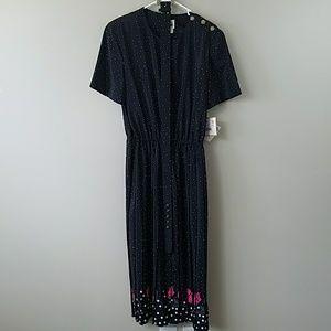 NWT Vintage Leslie Fay Polka Dot Floral Hem Dress